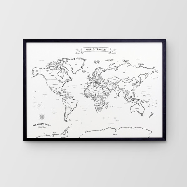 Hand Drawn Canvas Push Pin Travel Map | hardtofind.
