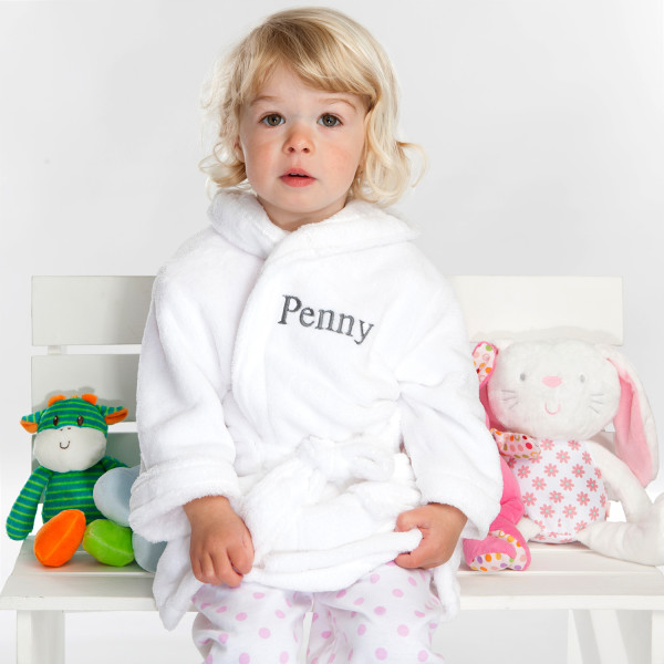 Personalised Soft Baby Or Child s Dressing Gown In White  91fa81069