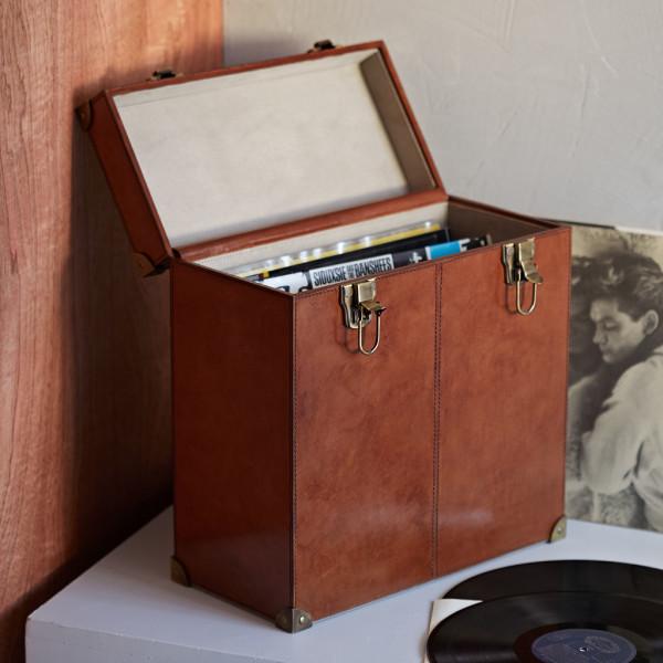 Leather vinyl record storage case open