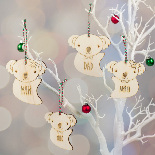 Wooden Koala Family Personalised Christmas Decorations