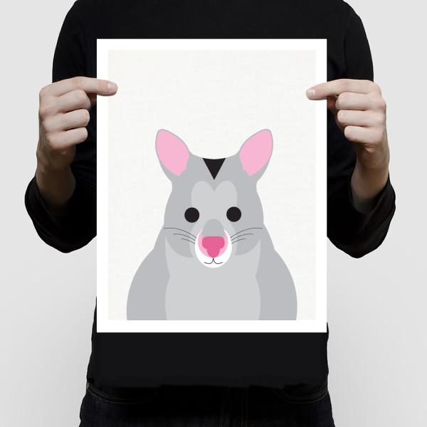 Smiling possum art print