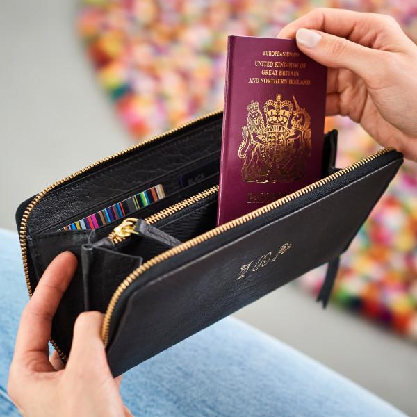 1bdb6adb5e06 Personalised Leather Travel Purse