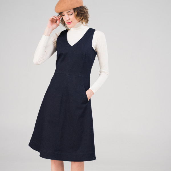 747960d2cd9 Polly Pinafore in French Navy Denim