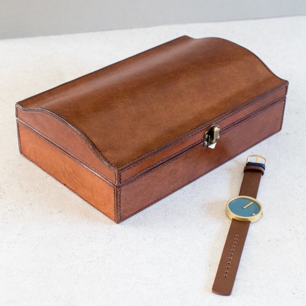 Personalised Leather Curved Jewellery Box Large