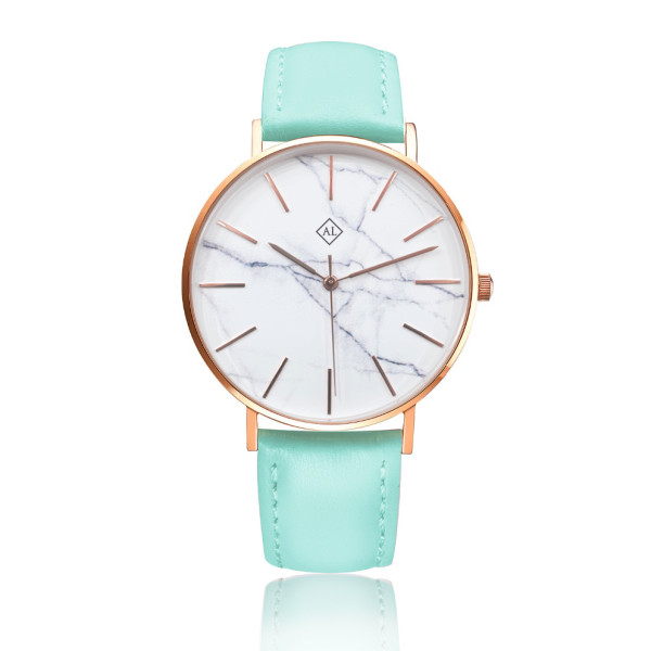 7c0560b5c Engraved Marble Face Women S Watch With Leather Band Rose Gold