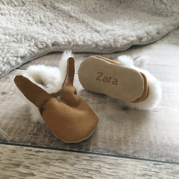 fd4c60251e93 Personalised bunny sheepskin baby booties