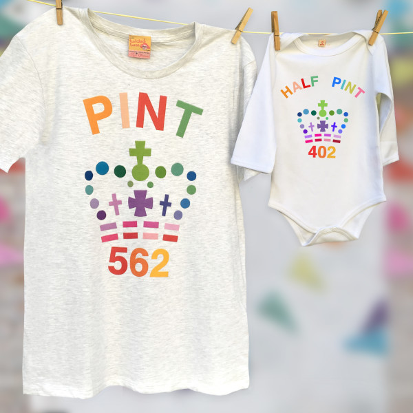 bb64681a Rainbow Matching unisex pint & half pint baby grow set for adult and ...