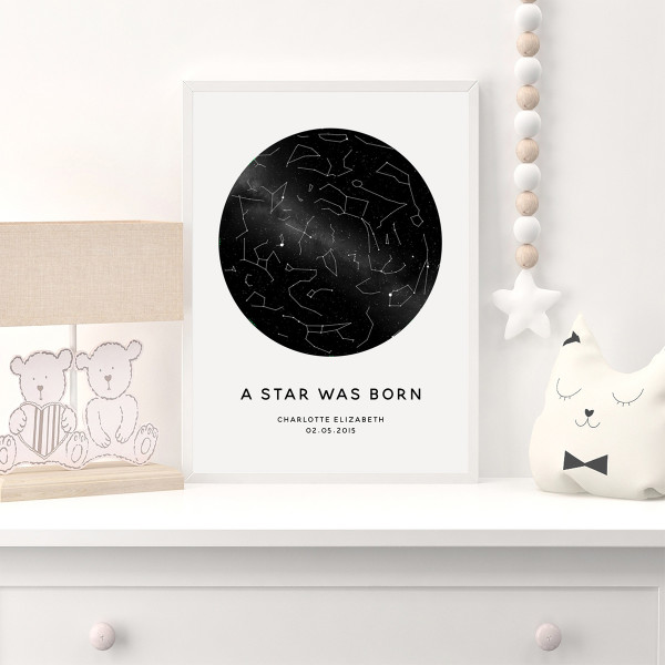 Star Map For Kids.Personalised A Star Is Born Star Chart Kids Print Hardtofind