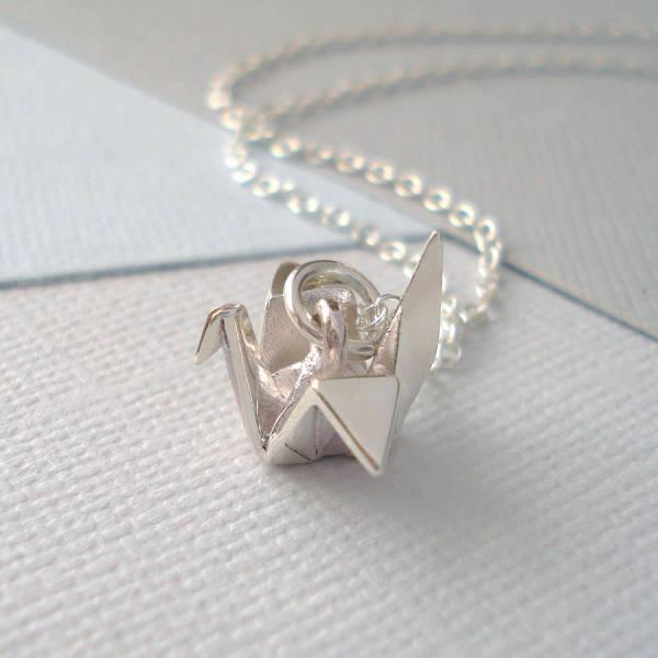 e83239ddf98ed Sterling Silver Origami Crane Necklace