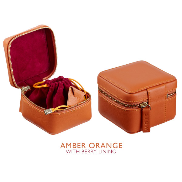 669487c56 Luxury Soft Leather Jewellery Box for Travel. Amber Orange/Berry