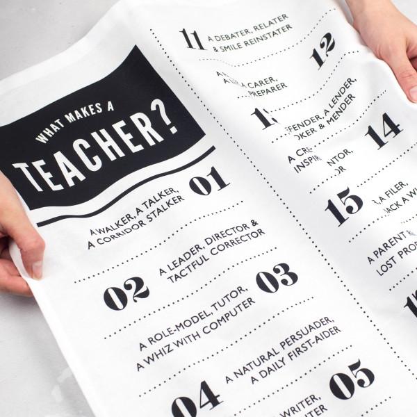 What is a teacher? Poem tea towel