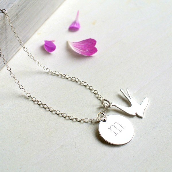 0c8f943e0bcdb Personalised Sterling Silver Initial Disc and Swallow Necklace