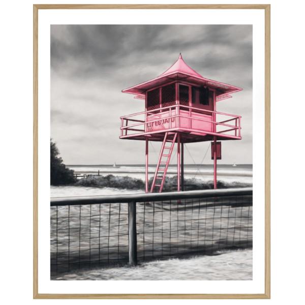 Lifeguard Box Framed Print Pink Hardtofind