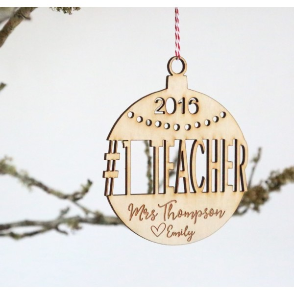 Personalised Number 1 Teacher Wooden Christmas Tree Decoration
