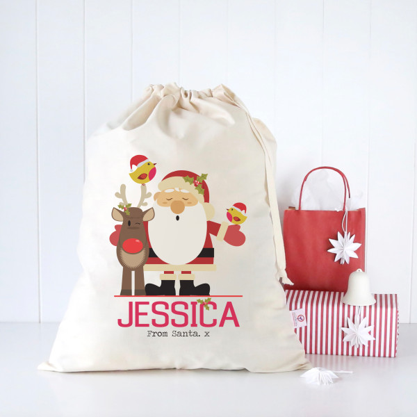 Christmas Bags.Personalised Christmas Santa Sacks Various Designs