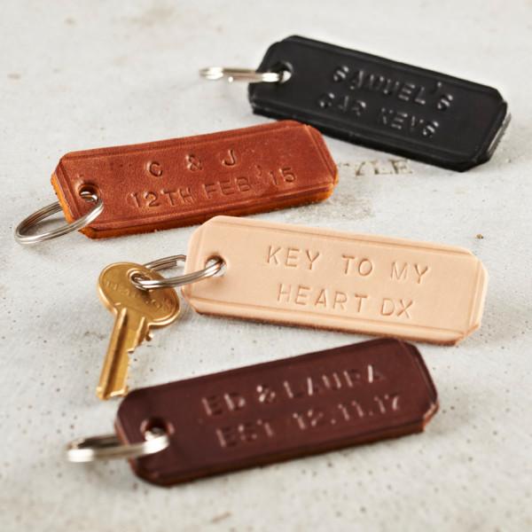 Personalised Handstamped Leather Keyring