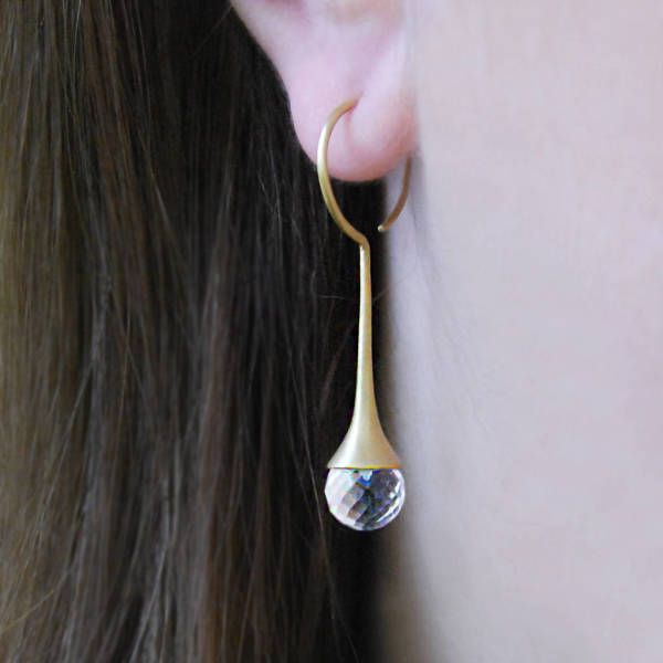 1ae311212 Briolette Topaz Dome Multi Faceted Gold Drop Earrings | hardtofind.