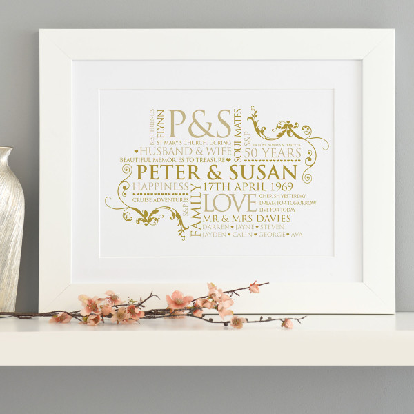 Golden Wedding Anniversary.Personalised Golden Wedding Anniversary Couple Word Art