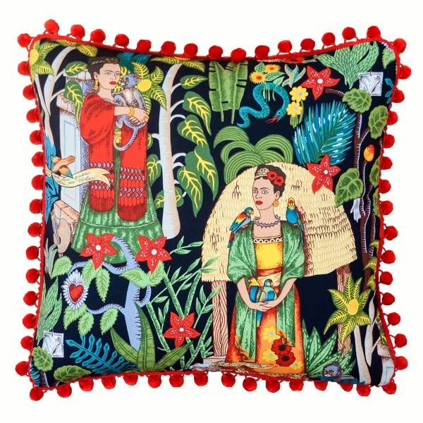 NEW Frida/'s garden black with pom pom edging cushion cover by A various Sizes