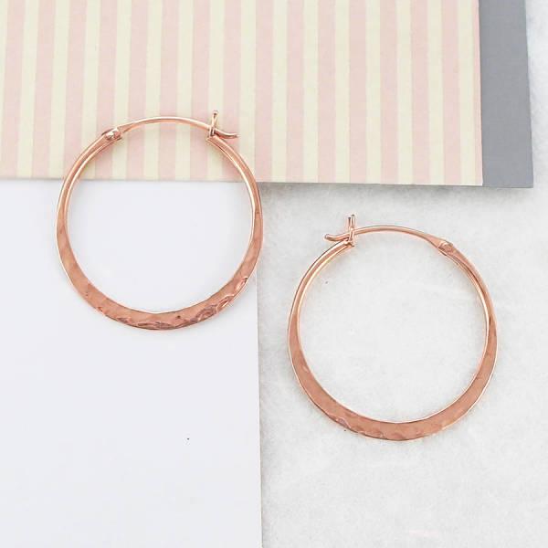5cbc0fe45 Battered Small Rose Gold Hoop Earrings | hardtofind.