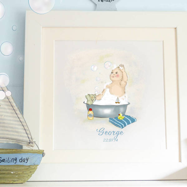 Personalised Boy S Bubble Bath Art Print Hardtofind