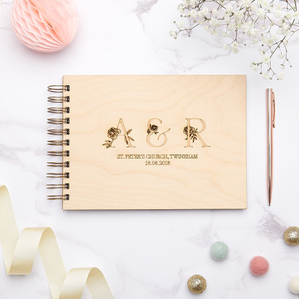 Floral Initials Wedding Guest Book