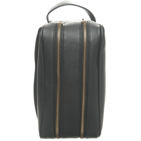 c8a28f2964 Monogrammed Vegan Saffiano Leather Men s Wash Bag - Black with Gold  Embossing