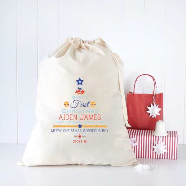 Baby boys first Christmas personalised Santa sack  445cdda88