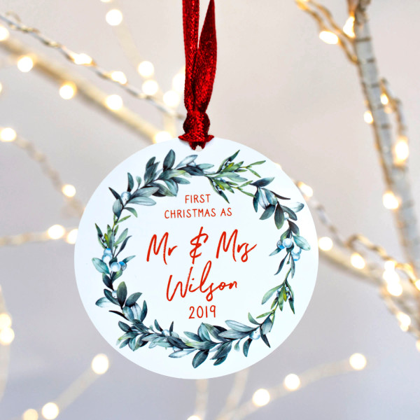 First Christmas.Personalised First Christmas As Mr Mrs Mistletoe Christmas Tree Decoration