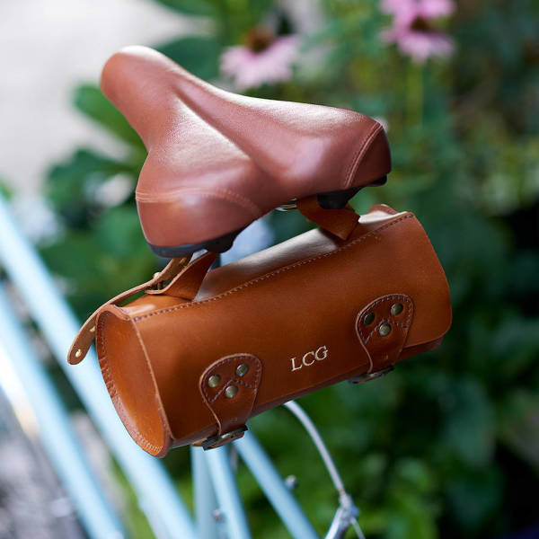 aa591924854 Leather Bike Saddle Bag in Tan with Gold Embossing