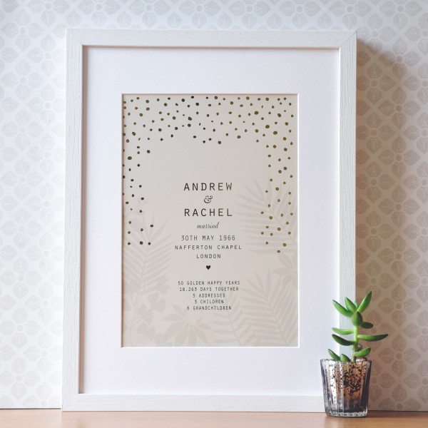 Personalised 50th Golden Anniversary Gift Print With Gold Foil