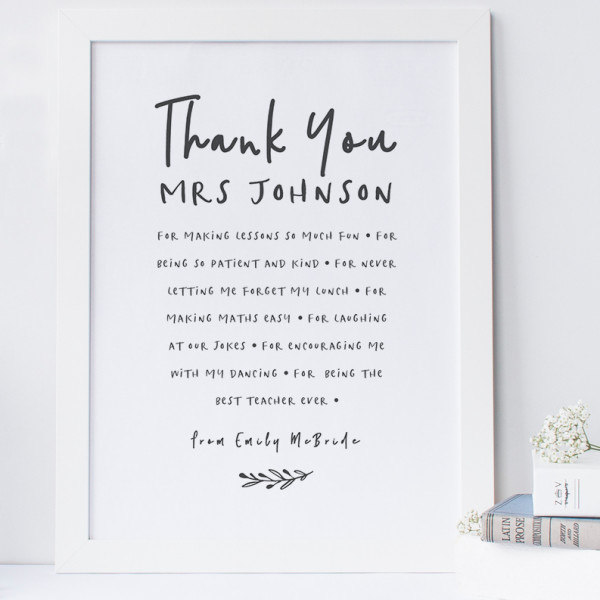 Personalised Thank You Teacher Print