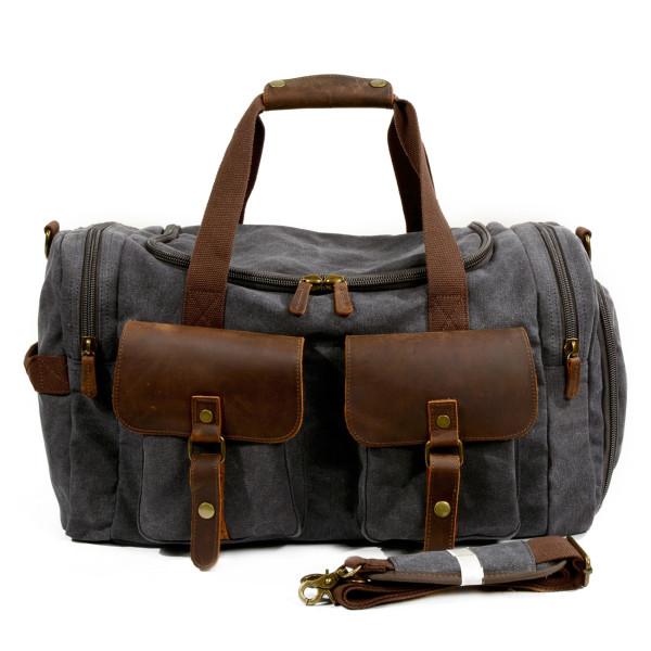 Canvas weekend duffle bag in grey  e6ded25e87e20