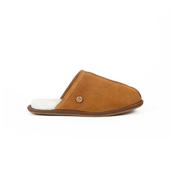 566825007b285 Men's Tan Suede and Sheepskin Slip-On Slippers