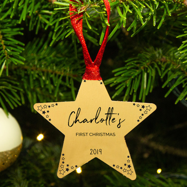 First Christmas.Personalised Babies First Christmas Gold Star Christmas Tree Decoration