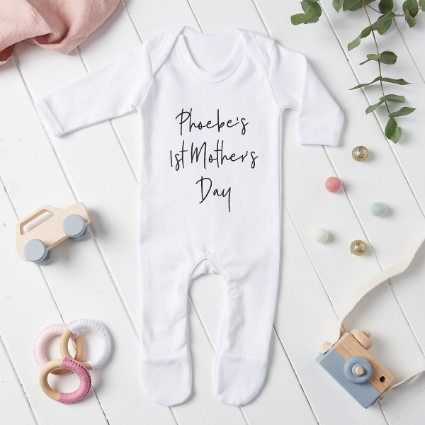 Happy mothers day new gift Personalised baby photo bodysuit vest babygrow