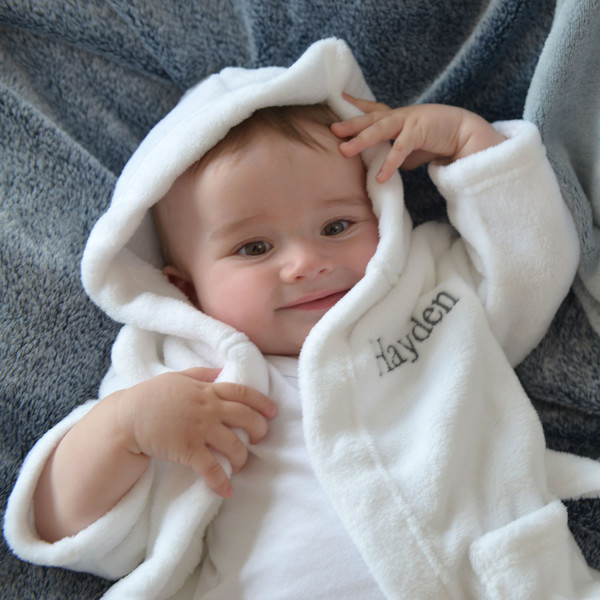 bc24930efb Personalised Soft Baby Dressing Gown In White
