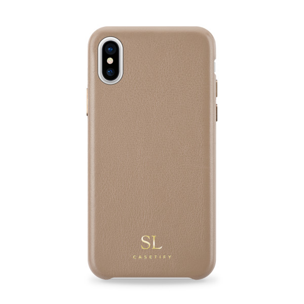wholesale dealer c8f5c c7e54 Personalised Genuine Leather Embossed iPhone Snap Case in Sand