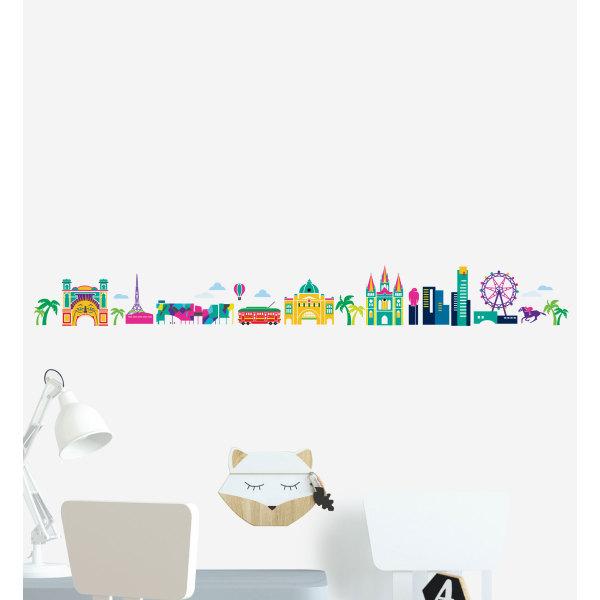 Melbourne Cartoon Skyline Wall Sticker
