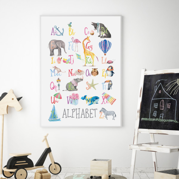 Watercolour Alphabet Educational Art Print with optional Australian-made white timber frame