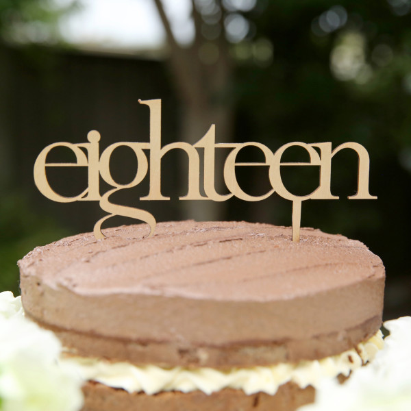 Eighteen Wooden Birthday Cake Topper