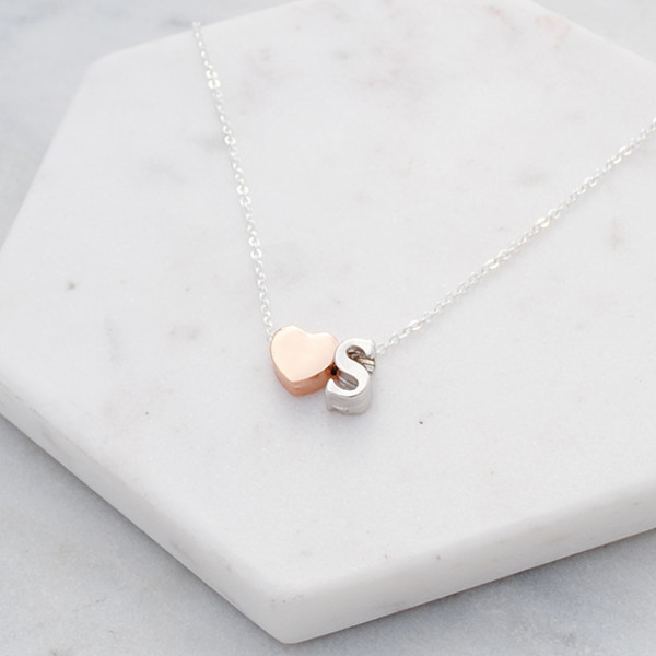 0865c46bc5e47 Personalised heart Initial necklace in rose gold and silver