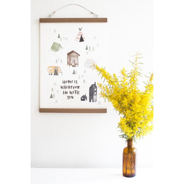Wooden Poster Hanger In Beech Or Walnut