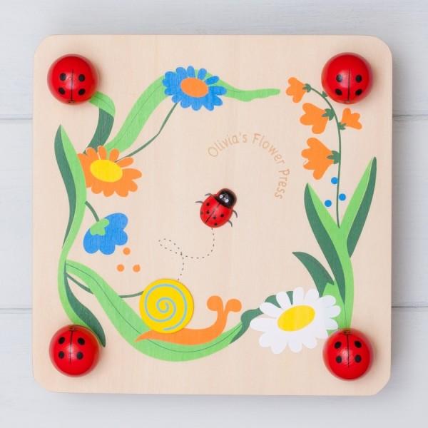 Personalised Wooden Ladybird Flower Press