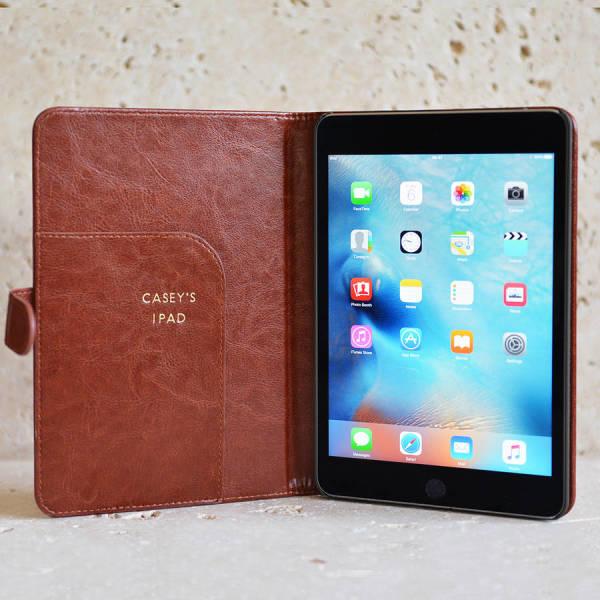 the best attitude bbb6f 6e86e Classic Personalised iPad Mini case in Brown or Black