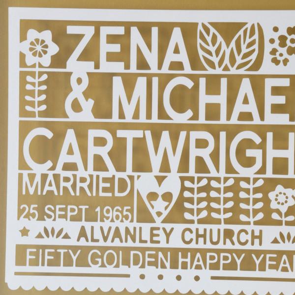Personalised 50th Golden Wedding Anniversary Gift Hardtofind