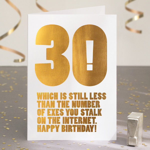 Funny 30th Birthday Card In Gold Foil
