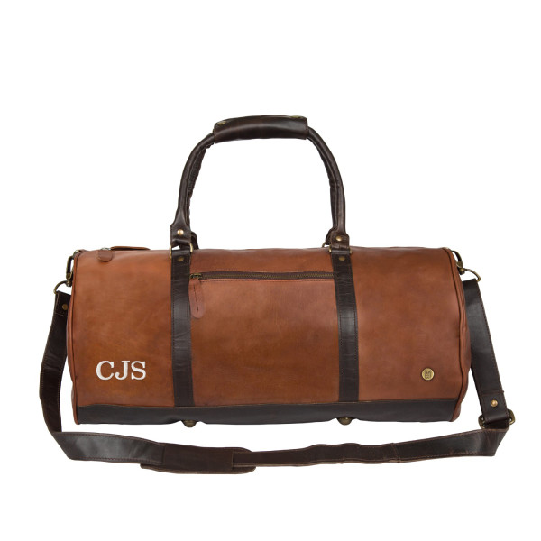 Leather weekend duffle bag in vintage brown with mahogany details ... 708cc72b965df