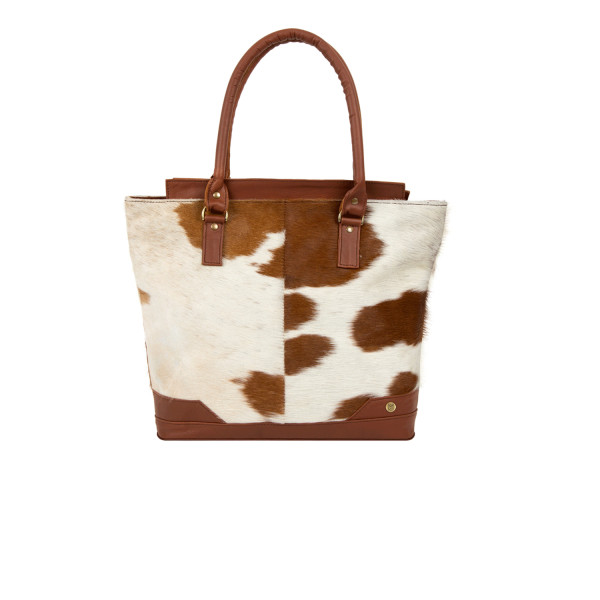 a90168598 Pony hair Leather tote handbag in Brown & White animal print | hardtofind.