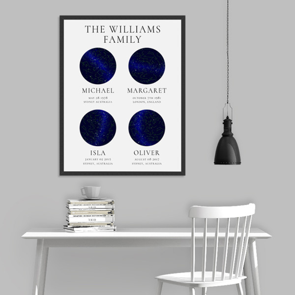 Personalised Family Star Constellation Map print